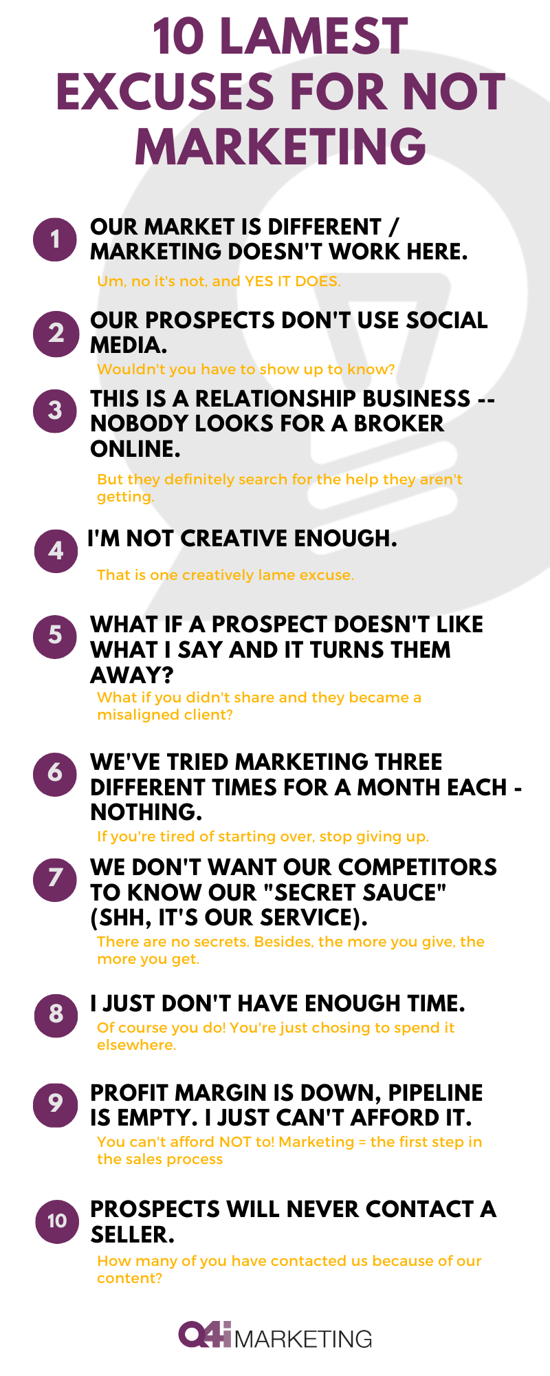 10 lamest excuses for not marketing
