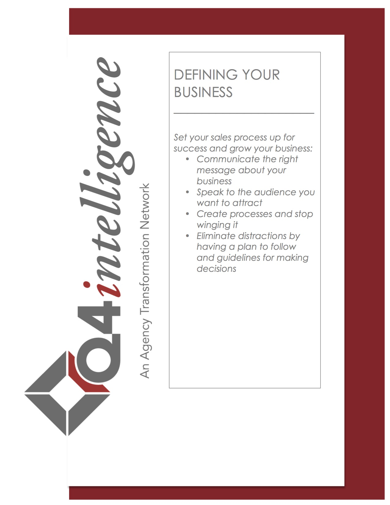 Defining Your Business Workbook Q4intelligence