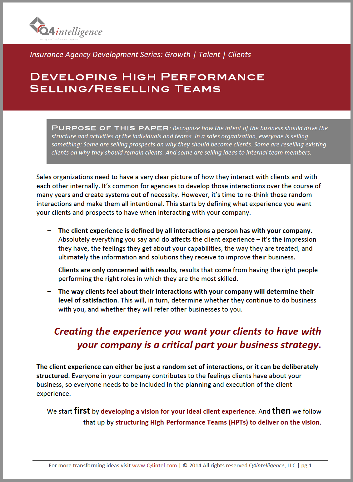 Developing High Performance Teams in your Insurance Agency